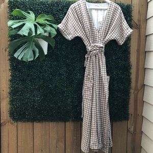 76087541be Urban Outfitters Dresses - UO Gabrielle linen gingham midi wrap dress